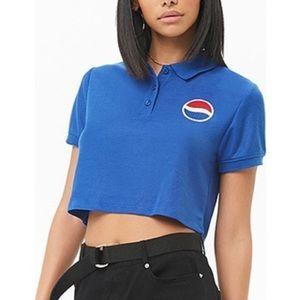 Pepsi Logo Polo Crop Top